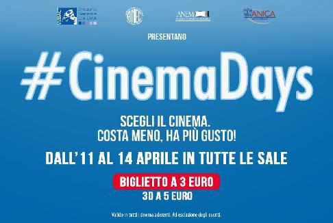 CinemaDays: al cinema dall'11 al 14 aprile a 3 euro